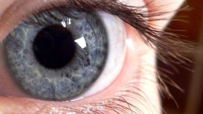 grey blue eye close up